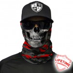 Fire Red Military Blackout Camo Skull